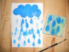 Déšť - tisk molitanem il pleut, il mouill, animaux boi, výtvarné nápadi, boi automn