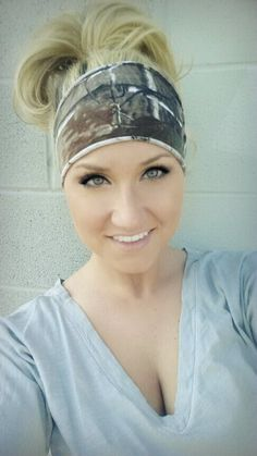 YOGA stretch Realtree Camo headband stretch by TheWoodenAntler, $12.00