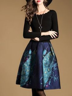 Multicolor Crew Neck Folds Long Sleeve Animal Print Mini Dress  $74.25