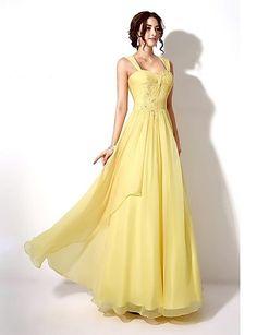A-line Sweetheart Floor-length Chiffon Wedding Party Dress – GBP £ 58.39