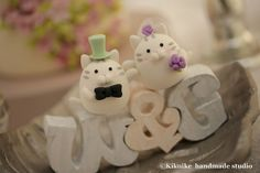 cat and kitty with initials letters Wedding Cake Topper