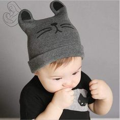 Baby Hat Cot Beanie Cap Toddler Infant Baby Girls and Boys Knitted Hats Kids Hats & Caps baby cap Knitted Baby Beanies, Knitted Hats Kids, Knitted Cat, Baby Hats Knitting, Crochet Beanie, Knit Crochet, Kids Winter Hats, Kids Hats, Baby Winter