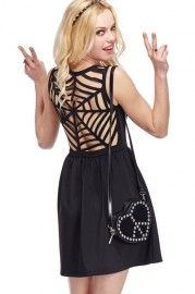 ROMWE Cobwebs Hollow-out Back Sleeveless Dress- lose the purse and perfect.