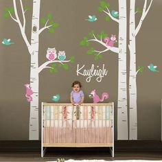 Cute Owl Squirrel Birch Tree Wall Stickers Personalized