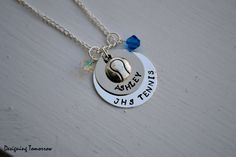 Personalized Tennis Player Necklace with Tennis Ball Charm and Bead. $20.00, via Etsy - it even says my name!!