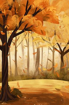 Fall Art Print by zandraart - X-Small Fantasy Landscape, Landscape Art, Fantasy Art, Digital Painting Tutorials, Digital Art Tutorial, Environment Concept Art, Environment Design, Autumn Illustration, Autumn Art