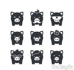 9 black pig icon vector
