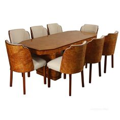 Antique Dining Suites, Art Deco Cloud Dining Suite 8 Seater H&L Epstein. A very fine classic Art Deco Dining Suite by the Epstein brothers made in london England circa Art Deco Furniture, Antique Furniture, Dining Suites, Dining Room, Dining Table, Art Deco Design, Table And Chairs, London England, New Homes