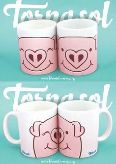 Este par de tazas de cerámica es ideal para las parejas más divertidas, que les encanta reír a carcajada suelta, que buscan salir de lo cursi, pero sin perder ese detalle romántico y puedan servir su bebida favorita en ellas. Pero eso no es todo, también te incluimos una tarjeta de regalo muy original, para que sorprendas a tu pareja en todo detalle. #pink #oink #pig #piggy #puerquito #amor #cute #parejas #tornasol #cafe #tazas #cup #couple