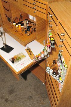 flytying storage Fly Tying Desk, Fly Tying Tools, Fly Tying Materials, Fishing Rod Rack, Fishing Lures, Fly Fishing, Fishing Stuff, Art Studio Design, Fly Tying Patterns
