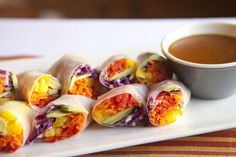 healthy spring rolls with peanut sauce (great snack)