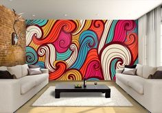 Bright and colorful waves crushing on the wall