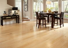 Pastele maple wood flooring in dining area Modern Wood Floors, Maple Hardwood Floors, Solid Wood Flooring, Wide Plank Flooring, Engineered Wood Floors, Bamboo Flooring Prices, Floating Hardwood Floor, Lumber Liquidators, Wood Laminate