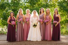 Mismatched Burgundy Floor-Length Bridesmaid Dresses
