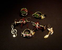 Christmas Ornaments Plastic Musical Instruments Trumpet Drume French Horn Music Notes Destash Craft Project Holiday Decor FREE USA SHIPPING