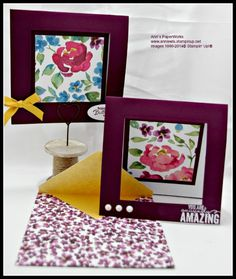 """Painted Blooms Designer Series Paper, Rich Razzleberry, handmade envelope, Hello Honey 3/8"""" ribbon, sentiment from Painted Petals Stamp Set #Stampin' Up! #Ann's PaperWorks"""