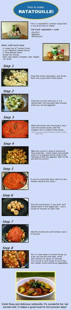 How to Make: Ratatouille! #food #cuisine #cooking #infographic