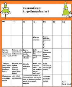 Kirjoituskalenteri tammikuu/Sari S. Teaching Writing, Teaching Tips, Finnish Language, Writing Challenge, Early Childhood Education, Creative Writing, Literacy, Winter, Reading