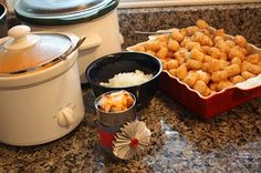 Tator Tot Bar- great idea for a teenage boy party!  Serve from a tin can or paper nacho boat.  Cool idea!