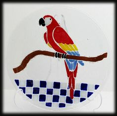 Peggy Karr Large Fused Art Glass Plate Platter Red Parrot Bird Signed