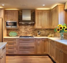 hickory cabinets kitchen photos By Heather Shoning Photos by Brent Moss Photography Kitchen Cabinet Design, Wooden Kitchen Cabinets, Hickory Cabinets, Kitchen Remodel, Wood Kitchen, Contemporary Wooden Kitchen, Rustic Kitchen, Kitchen Renovation, Kitchen Cabinets Makeover