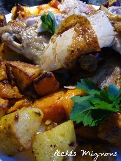 Poulet rôti au couscous parfumé sur lit de patates douces