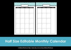 Printable Calendar 2 page monthly perpetual calendar--EDITABLE--You can use it forever! Etsy $5.00