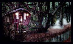 Google Image Result for http://4.bp.blogspot.com/_N7FiXwKHEhs/TFxg_ACxLQI/AAAAAAAAEYo/d-eydaGkA8o/s1600/gypsy-caravan-forest-night%2Bvia%2Blayout%2Bsparks.jpg