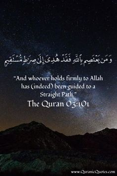 "#59 The Quran 03:101 (Surah al-Imran) ""And whoever holds firmly to Allah has (indeed) been guided to a Straight Path."""