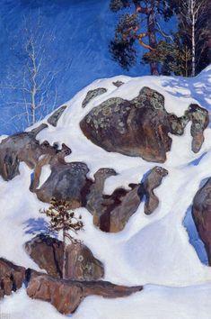 'Snow-Covered Cliffs at Kalela', Oil On Canvas by Akseli Gallen Kallela Finland) Mountain Art, Mountain Landscape, Winter Landscape, Landscape Art, Landscape Paintings, Winter Trees, Winter Art, Scandinavian Paintings, Life Paint