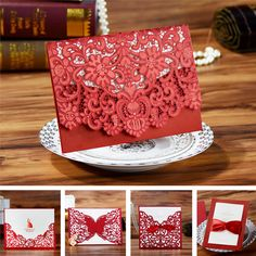 (Samples/2pcs) Red Vintage Lace Butterfly Luxury Laser Cut Wedding Invitations With Envelope 2016 China Rustic Elegant Designs