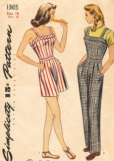 Playsuit Pattern Simplicity 1365 Bust 32 Womens Vintage Sewing Pattern Overalls or Sleeveless Sunsuit Shorts Vintage Dress Patterns, Clothing Patterns, Vintage Dresses, Vintage Outfits, 1940s Fashion, Vintage Fashion, Patron Vintage, Vestidos Vintage, Rita Hayworth