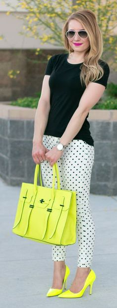 Black top, polka dots skirt and neon