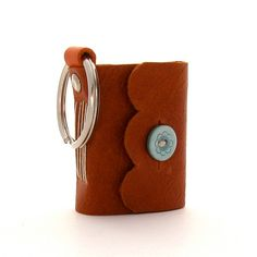 Leather Journal on a Keychain in Rust and Aqua