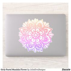 Girly Pastel Mandala Flower Sticker Holiday Cards, Christmas Cards, Cute Laptop Stickers, Design Your Own Stickers, Vinyl Sheets, Flower Mandala, Christmas Card Holders, White Ink, Hand Sanitizer
