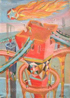megacity 8, acrylic on canvas, 30 x 21 cm