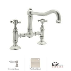 ? bathroom, $528 View the Rohl A1459LPPN-2 Polished Nickel Country Kitchen Bridge Faucet with Porcelain Lever Handles at Build.com.