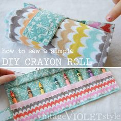 Vintage Violet Style: How to Sew a Simple DIY Crayon Roll- I like how this one covers the crayons completely.