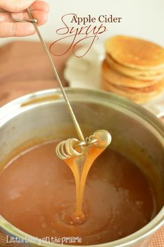 Capture the fantastic flavors of fall with Apple Cider Syrup. You are going to love drizzled on everything from pancakes and waffles to ice cream and even apple pie! Little Dairy on the Prairie Brunch, Apple Recipes, Fall Recipes, Dessert Sauces, Dessert Recipes, Salsa Dulce, Homemade Syrup, Pancakes And Waffles, Pumpkin Pancakes