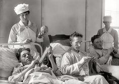 American soldiers knitting   Walter Reed Military Hospital  circa 1918