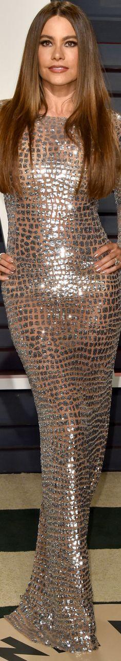 Sofia Vergara 2017 Vanity Fair Oscar Party ~ wearing Michael Kors dress and Lorraine Schwartz jewels.