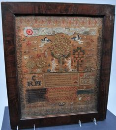 Lot: English school needlework sampler depicting Adam and, Lot Number: 0186A, Starting Bid: $350, Auctioneer: Tremont Auctions, Auction: June Art and Antiques Auction, Date: June 4th, 2017 EDT