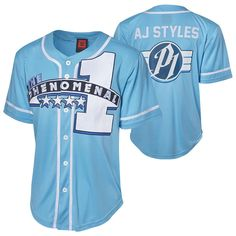 "Official WWE Authentic AJ Styles ""The Phenomenal One"" Baseball Jersey Black Aj Styles Wwe, Styles P, Wwe Shirts, Sports Shirts, Black Panther Hoodie, Wwe T, Mens Clothing Trends, Sports Uniforms, Baseball Jerseys"
