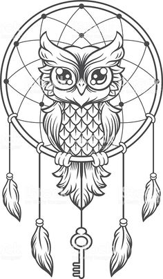 Owl dream catcher drawing 6 for native american mandala coloring Owl Dream Catcher, Dream Catcher Tattoo, Dream Catcher Drawing, Dream Catcher Painting, Dream Catcher Vector, Dream Catcher Mandala, Dream Drawing, Owl Coloring Pages, Coloring Books