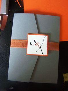Orange and silver wedding invitations