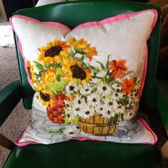 Vintage yarn needlework pillow crewel embroidery by pillowhappy