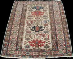 Caucasian Shirvan Rug with lovely ivory field, 19th Century, 5 x 4.3 ft.