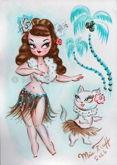 Cute Hula Girl with hula Kitty Watercolor by artist, Claudette Barjoud ( Miss Fluff) Dibujos Pin Up, Dark Alice In Wonderland, Miss Fluff, Very Cute Baby, Hawaiian Art, Cute Baby Dolls, Hula Girl, Mid Century Art, Disney Tattoos