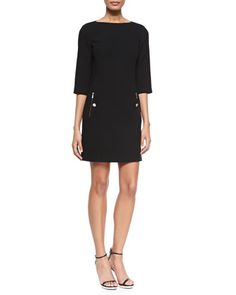 3/4-Sleeve Boat-Neck Shift Dress, Black by Michael Kors at Neiman Marcus.