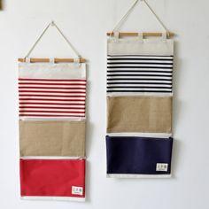 ZAKKA Style Multifunction Plain Striped Pockets Pouch Linen Wall Hanging Type Storage Bag Waterproof Folding Organizer For Toys